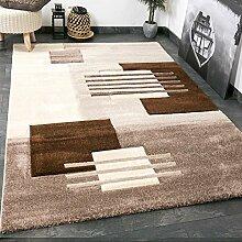 Moderner Designer Teppich für Wohnzimmer handgeschnittene Konturen in Beige Braun – VIMODA; Maße: 120x170 cm