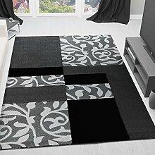 Moderner Designer Teppich mit Blumenmuster Kariert Konturenschnitt in Grau Schwarz -  VIMODA; Maße: 80x300 cm