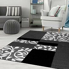 Moderner Designer Teppich mit Blumenmuster Kariert