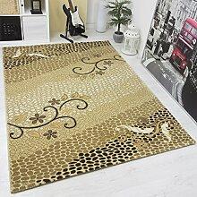 Moderner Designer Teppich mit Glitzereffekt Edel Elegant in versch Größen in Gold Beige - Top Qualität und Sehr Pflegeleicht, VIMODA; Maße: 120x170cm