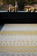 MODERNER Designer Teppich Ouse, gelb tribal, 160 X
