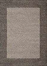MODERNER Designer Teppich Shaggy Life 1503, Taupe,