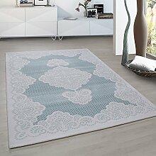Moderner Europäisch-Orientalischer Teppich Aegea (200 cm x 290 cm, Turquoise Palace Flowers)