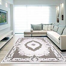 Moderner Europäisch-Orientalischer Teppich Aegea / Alpina (160 cm x 230 cm, Ellypsis Grau / Silber )