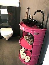 Moderner Fassregal Waschbecken Wasserhahn Armature inklusive Ablaufgarnitur Badmöbelset Pink / Auf Wunsch in allen RAL Farben