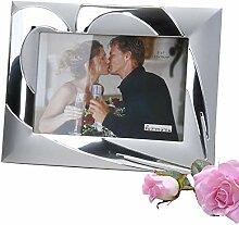 Moderner Fotorahmen 13x18cm Herz silber aus