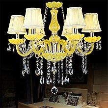 Moderner gelber Kristallleuchter für Esszimmer