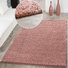 Moderner Hochflor Teppich Shaggy Einfarbig Dicht Gewebt Qualität Pink, Größe:Ø 80 cm Rund