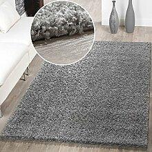 Moderner Hochflor Teppich Shaggy Einfarbig Dicht Gewebt Qualität Grau, Größe:70x250 cm