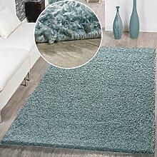 Moderner Hochflor Teppich Shaggy Einfarbig Dicht Gewebt Qualität Pastell Türkis, Größe:Ø 80 cm Rund