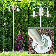 Moderner Kandelaber Elima - Wegeleuchte Edelstahl sehr hochwertig - Schöne Gartendeko mit 3 Lampenschirmen - Wegeleuchte - Pollerleuchte LED-fähig