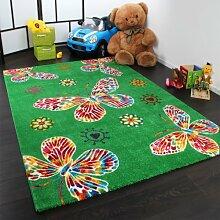 Moderner Kinder Teppich Butterfly Schmetterling Design in Grün Top Qualität, Grösse:80x150 cm