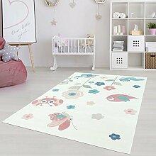Moderner Kinderzimmer Teppich für das Kinderzimmer Pastel Öko Tex 100 zertifiziert INP-5785-creme Käferwiese 200x290 cm