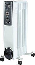 moderner klassicher Öl-Radiator - 7 Rippen Elektro-Heizung - 1,5 KW mobile Elektroheizung auf Rollen - energiesparsame Raum E-Heizung - NEU & OVP
