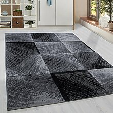 Moderner Kurzflor Guenstige Teppich Karo Baumrinde Schwarz Grau Weiss meliert 5 Groessen Wohnzimmer, Jugendzimmer, meliert Kinderzimmer,, Größe:80x300 cm
