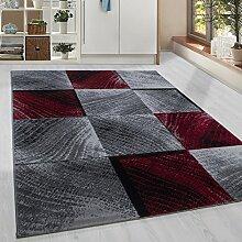Moderner Kurzflor Guenstige Teppich Karo Baumrinde Schwarz Grau Weiss Rot meliert 5 Groessen Wohnzimmer, Jugendzimmer, meliert Kinderzimmer,, Größe:80x150 cm
