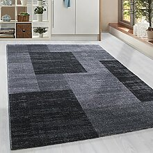Moderner Kurzflor Guenstige Teppich Patchwork gesäumt Schwarz Grau Weiss meliert 5 Groessen Wohnzimmer, Jugendzimmer, meliert Kinderzimmer,, Größe:160x230 cm