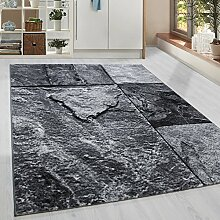 Moderner Kurzflor Guenstige Teppich Patschwork Stein Muster Schwarz Grau Weiss meliert 5 Groessen Wohnzimmer, Jugendzimmer, meliert Kinderzimmer,, Größe:80x300 cm