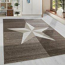 Moderner Kurzflor Guenstige Teppich Stern gesäumt Braun Mocca Beige Creme meliert 5 Groessen Wohnzimmer, Jugendzimmer, meliert Kinderzimmer,, Größe:80x300 cm