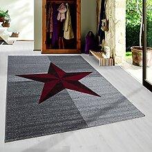 Moderner Kurzflor Guenstige Teppich Stern gesäumt Schwarz Grau Weiss Rot meliert 5 Groessen Wohnzimmer, Jugendzimmer, meliert Kinderzimmer,, Größe:120x170 cm