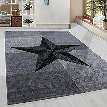 Moderner Kurzflor Guenstige Teppich Stern gesäumt Schwarz Grau Weiss meliert 5 Groessen Wohnzimmer, Jugendzimmer, meliert Kinderzimmer,, Größe:80x150 cm