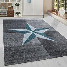 Moderner Kurzflor Guenstige Teppich Stern gesäumt Schwarz Grau Weiss Tuerkis meliert 5 Groessen Wohnzimmer, Jugendzimmer, meliert Kinderzimmer,, Größe:120x170 cm