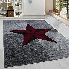 Moderner Kurzflor Guenstige Teppich Stern gesäumt Schwarz Grau Weiss Rot meliert 5 Groessen Wohnzimmer, Jugendzimmer, meliert Kinderzimmer,, Größe:200x290 cm