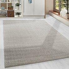 Moderner Kurzflor Guenstige Teppich Uni Einfarbig Beige meliert 5 Groessen Wohnzimmer, Jugendzimmer, meliert Kinderzimmer,, Größe:80x150 cm