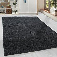 Moderner Kurzflor Guenstige Teppich Uni Einfarbig Schwarz meliert 5 Groessen Wohnzimmer, Jugendzimmer, meliert Kinderzimmer,, Größe:80x150 cm