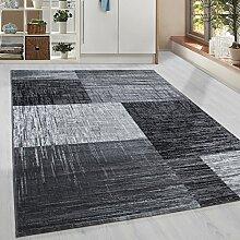 Moderner Kurzflor Guenstige Teppich Vintage Karo geometrisch Schwarz Grau Weiss meliert 5 Groessen Wohnzimmer, Jugendzimmer, meliert Kinderzimmer,, Größe:80x150 cm