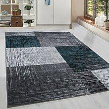 Moderner Kurzflor Guenstige Teppich Vintage Karo geometrisch Schwarz Grau Weiss Tuerkis meliert 5 Groessen Wohnzimmer, Jugendzimmer, meliert Kinderzimmer,, Größe:80x300 cm