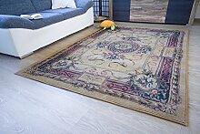 Moderner Orientteppich Gabolo Aubusson Beige - Vintage Perser Teppich Muster - Öko-Tex, Größe: 60x90 cm