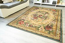 Moderner Orientteppich Gabolo Aubusson Blumen - Vintage Perser Teppich Muster - Öko-Tex, Größe: 120x180 cm
