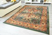 Moderner Orientteppich Gabolo Nomado Grün - Vintage Perser Teppich Muster - Öko-Tex, Größe: 80x300 cm