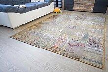 Moderner Orientteppich Gabolo Vintage Beige - Vintage Perser Teppich Muster - Öko-Tex, Größe: 68x135 cm