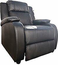 Moderner Relaxsessel HOLLYWOOD Kunstleder schwarz verstellbar Liegesessel Sessel Fernsehsessel Wohnzimmer mit Liegefunktion
