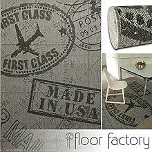 Moderner Teppich Air Mail grau 160x230 cm - topaktueller Flachgewebe Teppich für drinnen und draußen