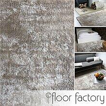 Moderner Teppich Delight silber grau 200x200cm -