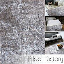 Moderner Teppich Delight silber grau 80x150cm - edler Designer Teppich mit flauschig weichem Flor