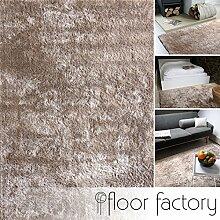 Moderner Teppich Delight taupe 120x170cm - edler Designer Teppich mit flauschig weichem Flor