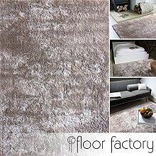 Moderner Teppich Delight taupe / grau braun 140x200cm - edler Designer Teppich mit flauschig weichem Flor