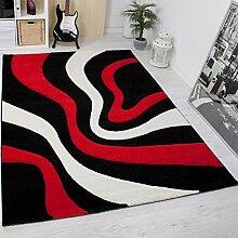 Moderner Teppich Design, Gestreift Wellen Muster Handgeschnittene Konturen, ÖKO TEX Zertifiziert, Farbe Rot Schwarz Weiß, VIMODA; Maße: 120x170 cm