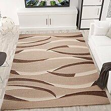 Moderner Teppich Design in Beige Braun mit Wellen Muster Konturen Rillen - VIMODA, Maße:160x230 cm