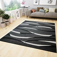 Moderner Teppich Design in Grau Weiß Schwarz mit