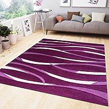 Moderner Teppich Design in Lila Rosa mit Wellen