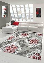 Moderner Teppich Designer Teppich Orientteppich mit Glitzergarn Wohnzimmer Teppich mit Ornamente und Blumen in Grau Creme Rosa Rot Größe 160x230 cm