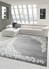 Moderner Teppich Designer Teppich Orientteppich mit Glitzergarn Wohnzimmer Teppich mit Floral Muster Meliert in Grau Creme Größe 120x160 cm