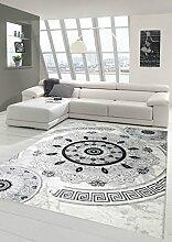 Moderner Teppich Designer Teppich Orientteppich mit Glitzergarn Wohnzimmer Teppich mit Klassisch Orientalischen Kreis Ornamente in Creme Grau Schwarz Größe 80x150 cm