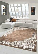 Moderner Teppich Designer Teppich Orientteppich mit Glitzergarn Wohnzimmer Teppich mit Floral Muster Meliert in Braun Beige Creme Größe 80 x 300 cm