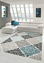 Moderner Teppich Designer Teppich Orientteppich mit Glitzergarn Wohnzimmer Teppich mit Ornamente Meliert in Creme Beige Grau Anthrazit Türkis Größe 200 x 290 cm